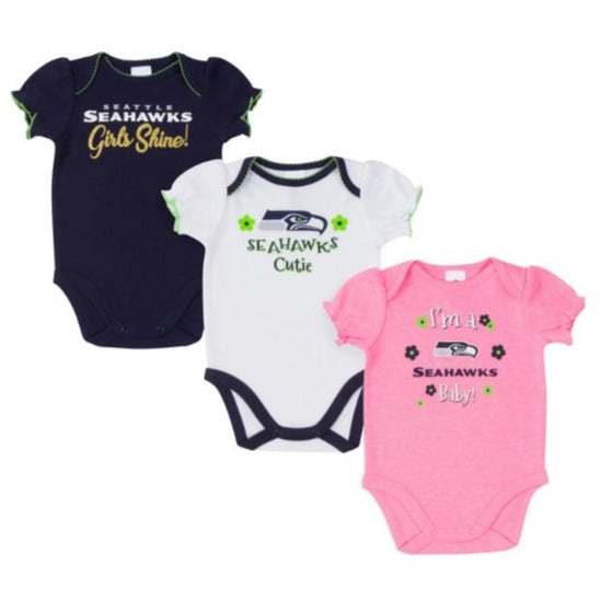 Seattle Seahawks Baby Girl Short Sleeve Bodysuit, 3-pack