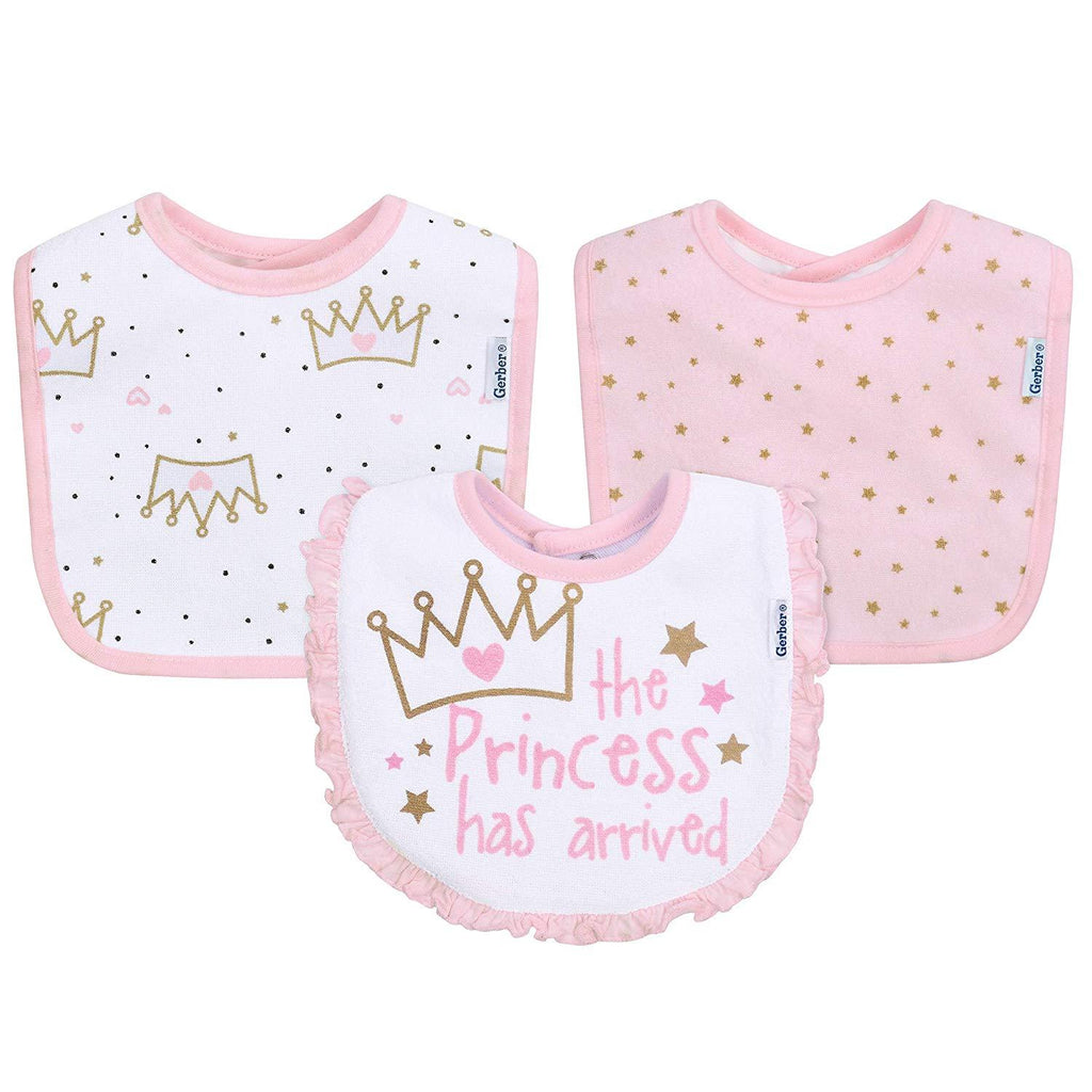 Gerber Baby 3-Pack Girls Princess Crown Dribbler Bibs