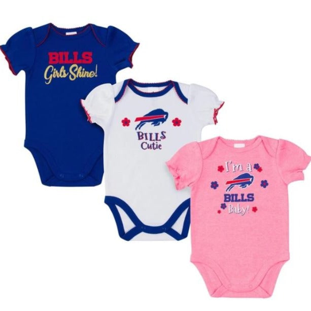 Buffalo Bills 3-Pack Baby Girl Short Sleeve Bodysuit
