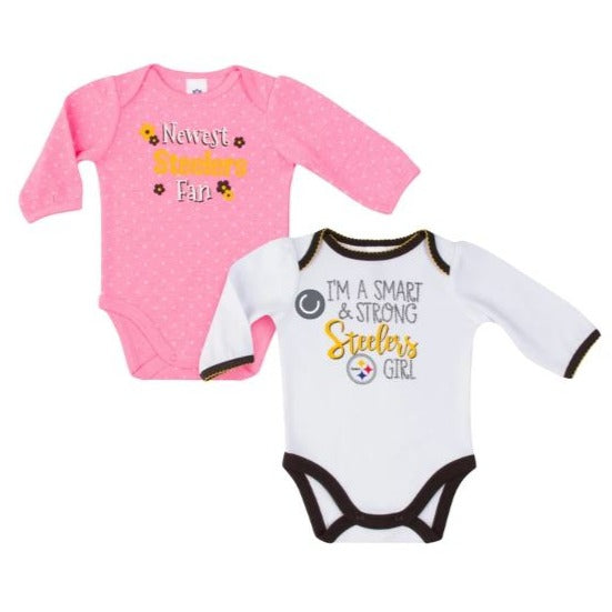 Pittsburgh Steelers Baby Girl Long Sleeve Bodysuit, 2-pack