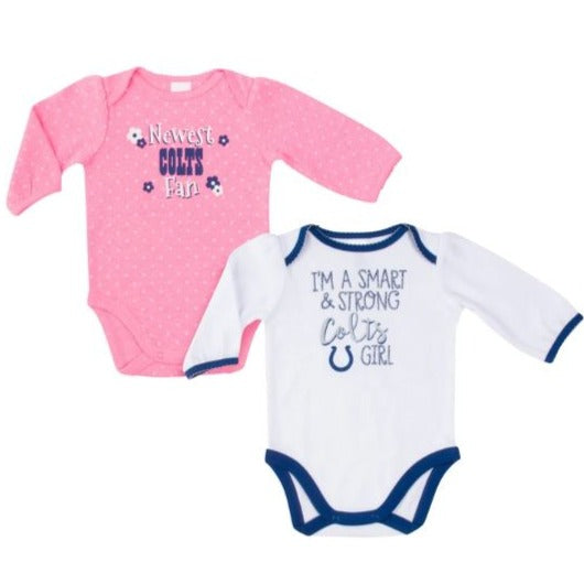 Indianapolis Colts Baby Girl Long Sleeve Bodysuit, 2-pack