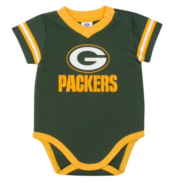 Baby Boys Green Bay Packers Short Sleeve Jersey Bodysuit