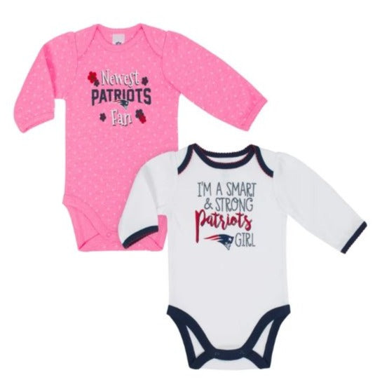 New England Patriots Baby Girl Long Sleeve Bodysuit, 2-pack