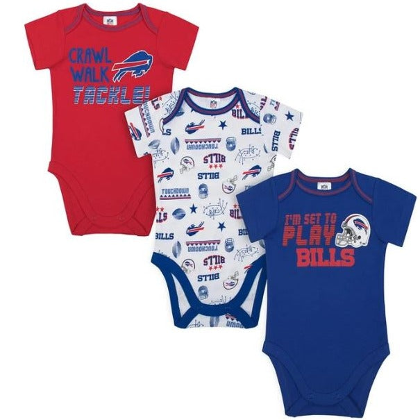 Bills Baby Boys 3-Pack Short Sleeve Bodysuit