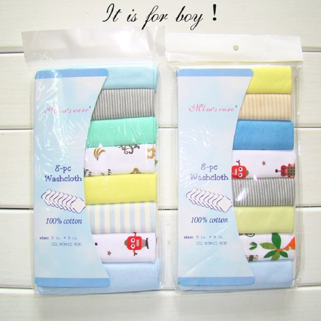 8 pack 100% Cotton Newborn Baby Saliva Towels