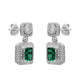 Stunning Sterling Silver Rectangle Shaped Emerald CZ Pendant-Earrings Set