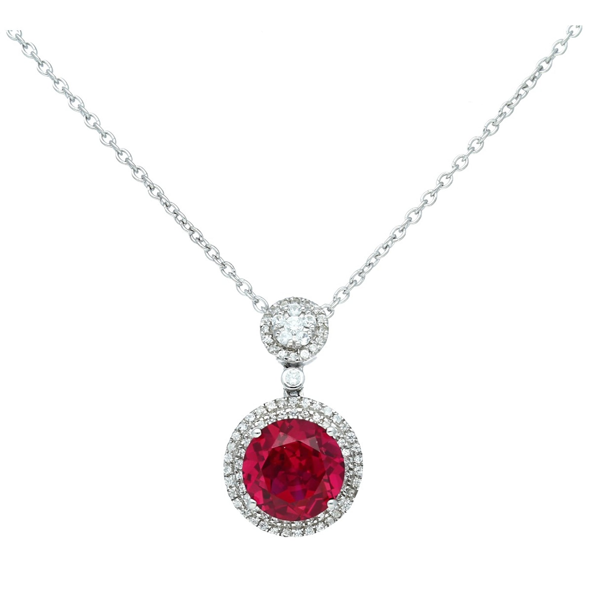 Pretty Sterling Silver Round Shaped Ruby CZ Pendant-Earrings Set
