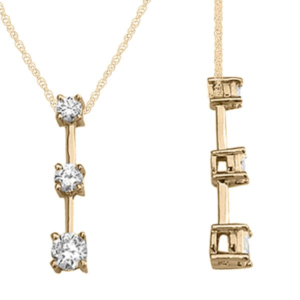 "1/4Ct Ttw Three Stone Diamond Pendant In 14K Gold With 18"" Chain"