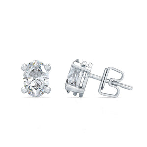 Stunning 0.34 CT TW Oval Cut Solitaire Earrings in 14kt White Gold