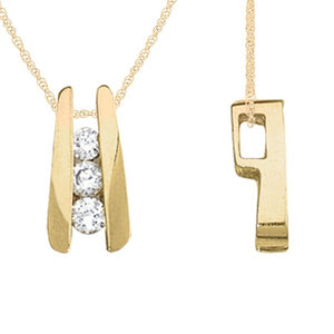 "Lovely 1/4Ct Ttw Three Stone Channel Diamond Pendant In 14K Gold With 18"" Chain"