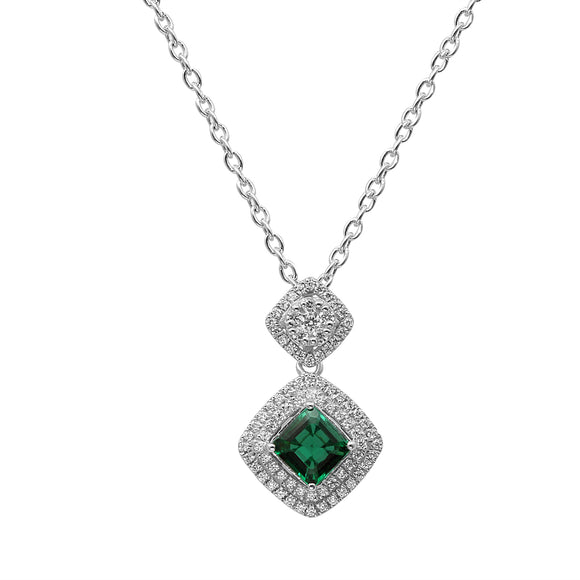 Lovely Sterling Silver Square Shaped Emerald CZ Pendant-Earrings Set
