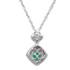 Lovely Sterling Silver Square Shaped Emerald CZ Pendant-Earrings Set - Artsyjewels