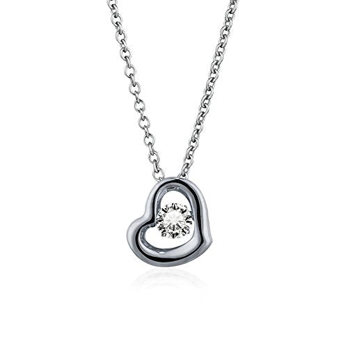 Platinum Plated 925 Sterling Silver Heart Tear Drop Dancing Necklace with Dancing Cubic Zirconia - Artsyjewels