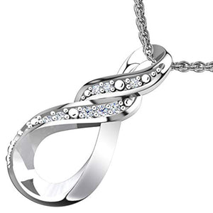 Stunning Womens 925 Sterling Silver Vertical Infinity Diamond Necklace