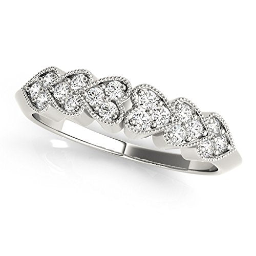 0.07 Ctw. Classy Heart Shaped Diamond Wedding Band In 10K White Gold - Artsyjewels