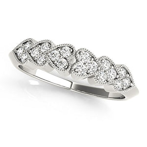 Pretty 0.07 Ctw. Classy Heart Shaped Diamond Wedding Band In 10K White Gold - Artsyjewels
