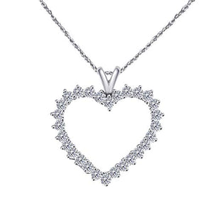 Gleaming 2 Ct. Ttw White & Black Diamond Heart Pendant In 10K Gold With 18'' Chain - Artsyjewels