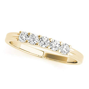 Glamorous 0.25 Carat Five Stone Round Diamond Engagement Ring In 10K Gold - Artsyjewels