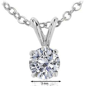 Elegant 0.20 CT Round White Diamond Solitaire Pendant In 14K White Gold - Artsyjewels