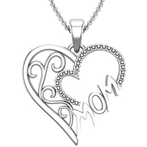 Stunning 925 Sterling Silver White Diamond Mom Heart Swirl Necklace - Artsyjewels
