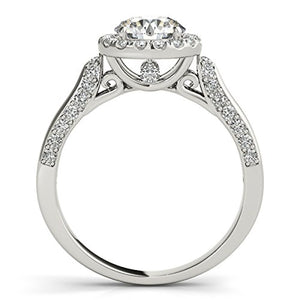 Sparkling 1 Ct. Halo Round Cut Antique Design Diamond Engagement Ring 14K Gold - Artsyjewels