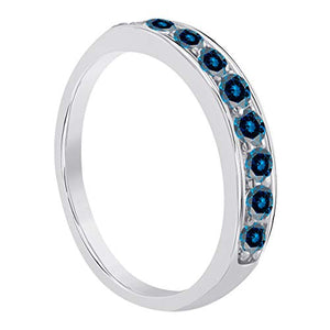 Beautiful 1/2 Carat Blue Diamond Channel Set Wedding Band In 10K Gold - Artsyjewels