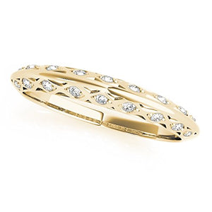 Classic 0.10 Ct. Ctw Diamond Wedding Band In 14K Solid Yellow Gold - Artsyjewels