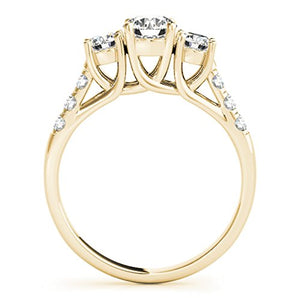 Gleaming 1/4 Ct. Halo Very Good Round Cut Classic Three-Stone Diamond Engagement Ring 14K Solid Gold - Artsyjewels