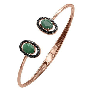 Stunning Rose Gold Plated Sterling Silver Bangle Bracelet in Multiple Gemstones - Artsyjewels