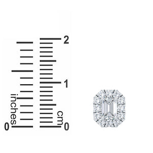 Pretty 0.50 CT TW Halo Lab-grown Emerald Cut Earrings in  14kt White Gold