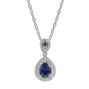 Classic Sterling Silver Drop Shaped Sapphire CZ Pendant-Earrings Set - Artsyjewels