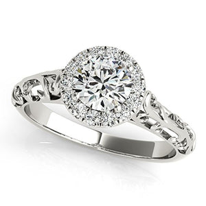 Pretty 0.5 Ct. Halo Round Cut Antique Diamond Ring For Women in Gold - Artsyjewels