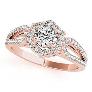Sparkling 0.70 Ct Halo Diamond Engagement Ring In 14k Gold - Artsyjewels