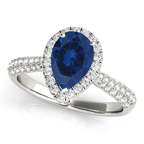 Alluring 1 Ct. Ttw Diamond And Pear Shaped Sapphire Ring In 10K White Gold - Artsyjewels