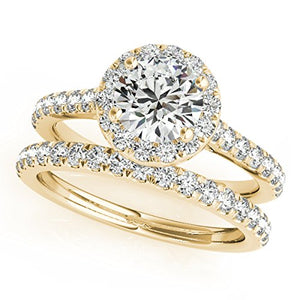 Classic 0.75 Carat Halo Round Cut Antique Diamond Bridal Ring And Band Set For Women in 14K Solid Gold - Artsyjewels