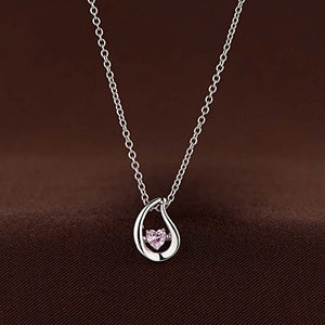 Platinum Plated 925 Sterling Silver Tear Drop Necklace with Pink Heart Shaped Dancing Cubic Zirconia - Artsyjewels