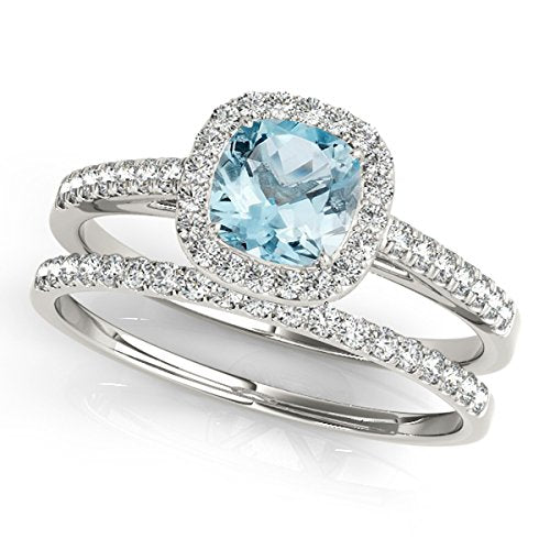 Glamorous 1.20 Ct. Ttw Cushion Shape Aquamarine Bridal Set In 10k White Gold - Artsyjewels