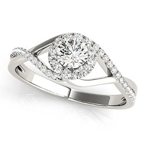 Lovely 0.50 Ct Halo Diamond Engagement Precious Ring In 10K White Gold - Artsyjewels