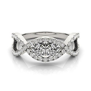 Lovely 1.25 Ct Two Stone Diamond Engagement Ring 14K White Gold - Artsyjewels
