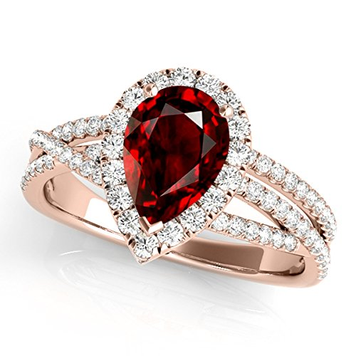 Alluring 2.15 Ct. Ttw Diamond and Pear Shaped Garnet Ring in 10K Rose Gold - Artsyjewels