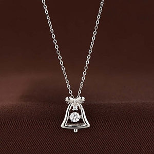 Platinum Plated 925 Sterling Silver Bell Dancing Necklace with Dancing Cubic Zirconia - Artsyjewels