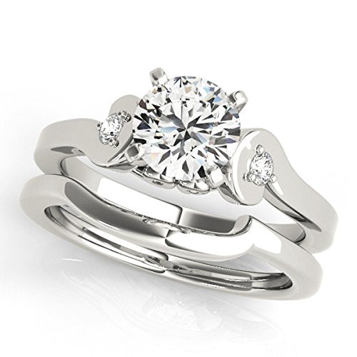 Beautiful 1/2 Ct. Diamond Engagement Bridal Ring Set 10K Solid White Gold - Artsyjewels