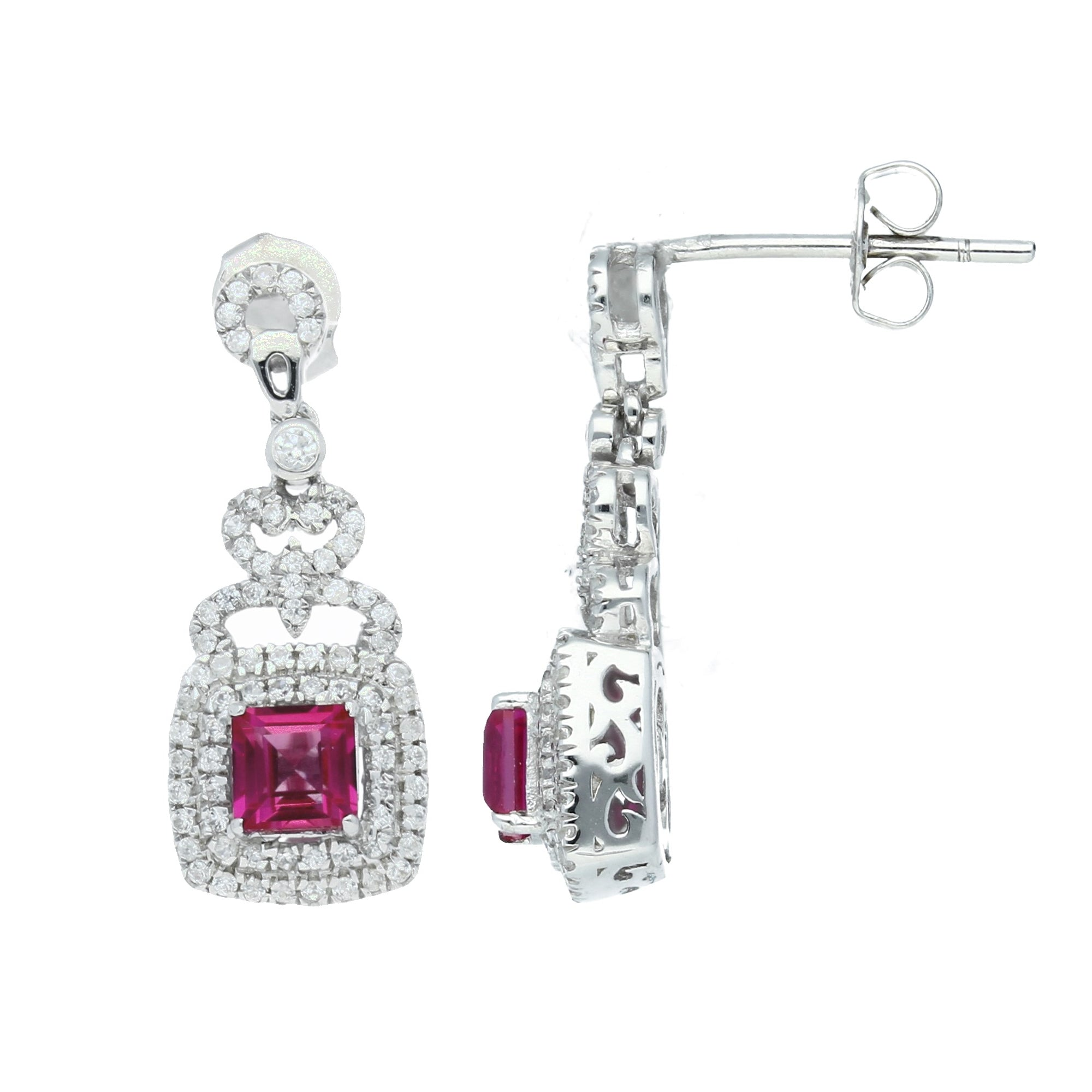 Elegant Sterling Silver Square Shaped Ruby CZ Pendant-Earrings Set - Artsyjewels