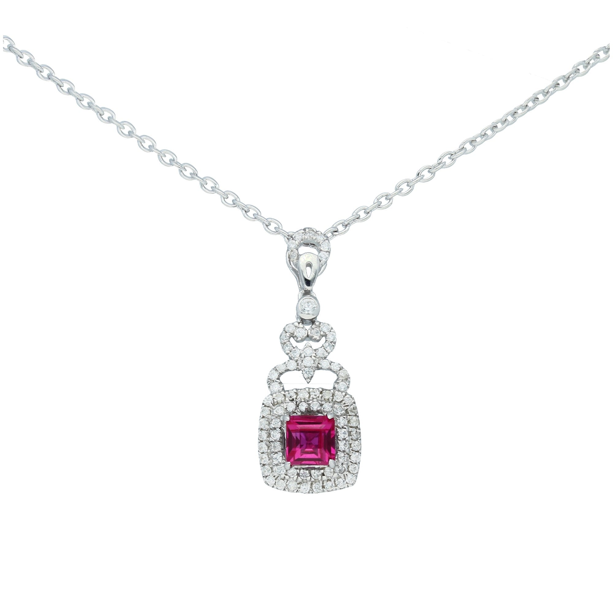 Elegant Sterling Silver Square Shaped Ruby CZ Pendant-Earrings Set