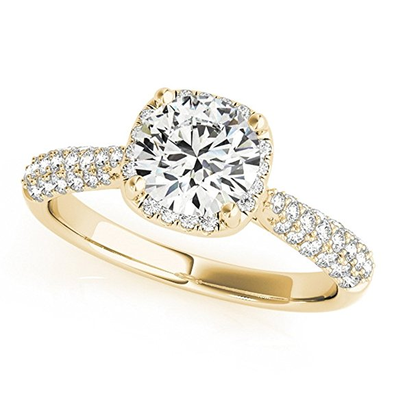 Gorgeous 1 Carat Halo Wedding Engagement Diamond Ring In 14k Solid Gold - Artsyjewels