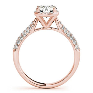 1 Carat Halo Wedding Engagement Diamond Ring In 14k Solid Gold - Artsyjewels