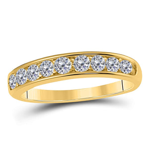 1/2 Ct. Ctw Channel Prong Setting Diamond Wedding Band In 10K Solid Rose, White & Yellow Gold - Artsyjewels