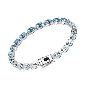 Beautiful Solid Sterling Silver 6x4 mm Oval Shape Gemstone/Birthstone Tennis Bracelets - Artsyjewels