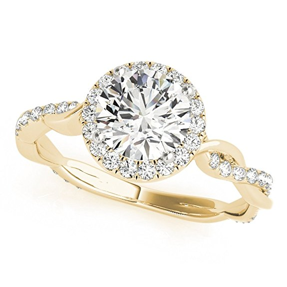 Diamond Engagement Wedding Ring In 14k Solid Gold 1.30 Carat Intertwine Shank