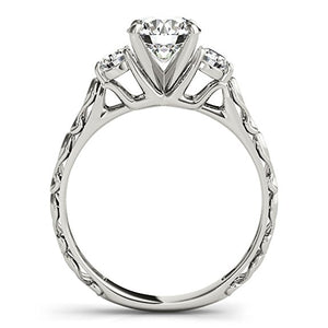 Sparkling 1/2 Carat Halo Engagement Diamond Ring Crafted In 14k White Gold - Artsyjewels
